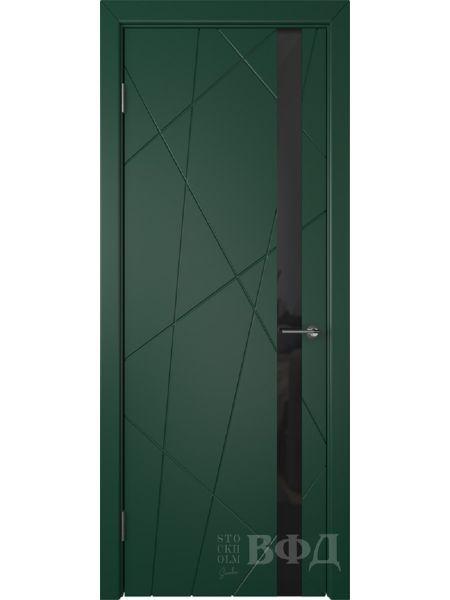 Межкомнатная дверь ВФД Флитта 26ДО10 (Зеленая эмаль - Стекло черное)