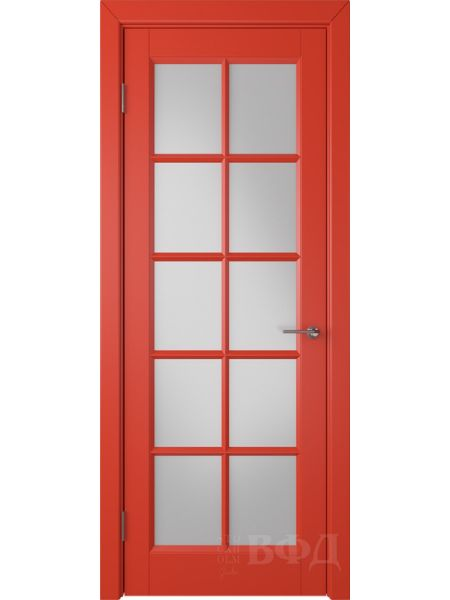 Межкомнатная дверь ВФД Гланта 57ДО07 (Красная эмаль - Белый сатинат)