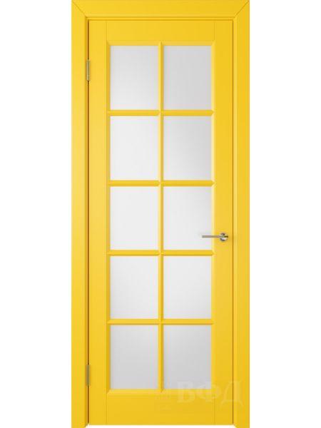 Межкомнатная дверь ВФД Гланта 57ДО08 (Желтая эмаль - Белый сатинат)