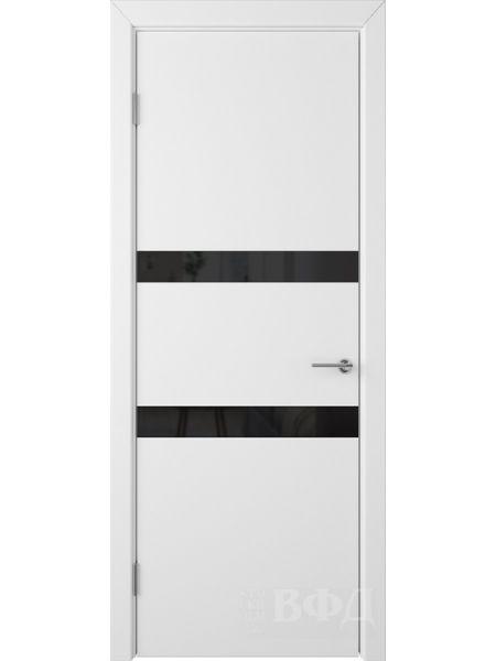 Межкомнатная дверь ВФД Ньюта 59ДО0 (Белая эмаль - Стекло черное)