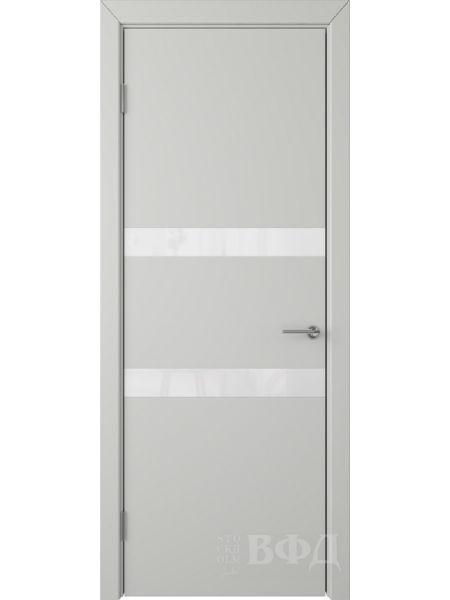 Межкомнатная дверь ВФД Ньюта 59ДО02 (Светло-серая эмаль - Стекло белое)
