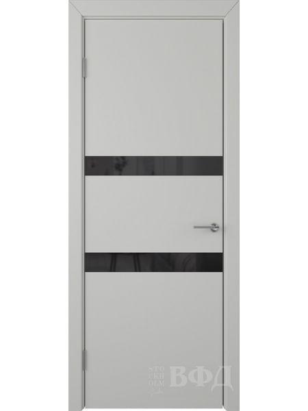 Межкомнатная дверь ВФД Ньюта 59ДО02 (Светло-серая эмаль - Стекло черное)