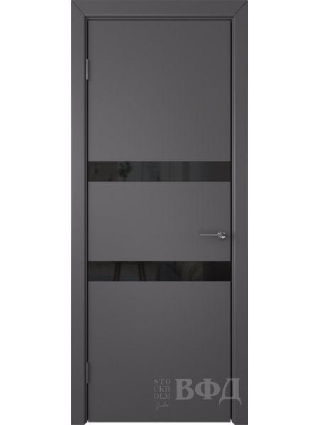 Межкомнатная дверь ВФД Ньюта 59ДО03 (Темно-серая эмаль - Стекло черное)