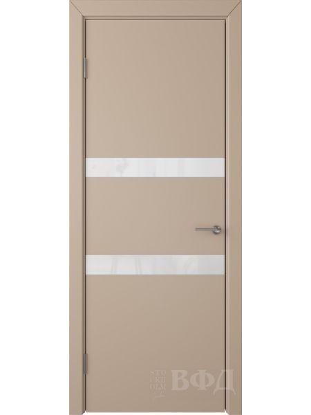Межкомнатная дверь ВФД Ньюта 59ДО04 (Латте эмаль - Стекло белое)