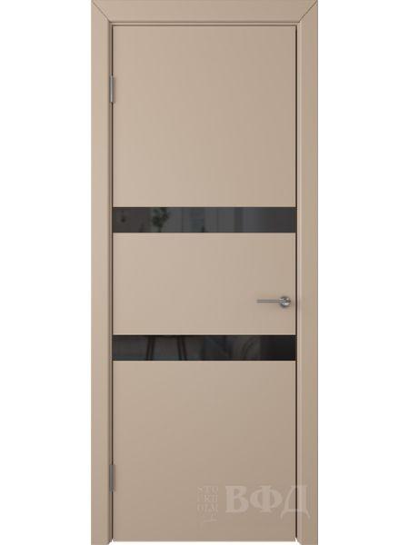 Межкомнатная дверь ВФД Ньюта 59ДО04 (Латте эмаль - Стекло черное)