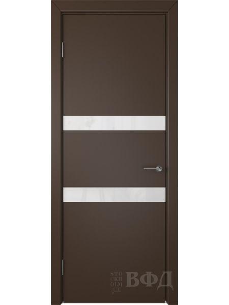 Межкомнатная дверь ВФД Ньюта 59ДО05 (Шоколадная эмаль - Стекло белое)