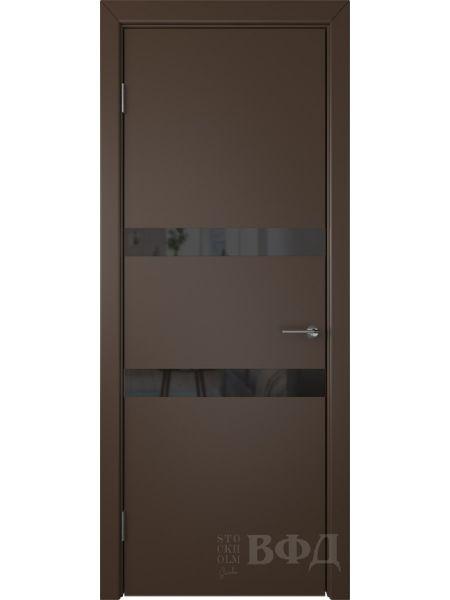 Межкомнатная дверь ВФД Ньюта 59ДО05 (Шоколадная эмаль - Стекло черное)