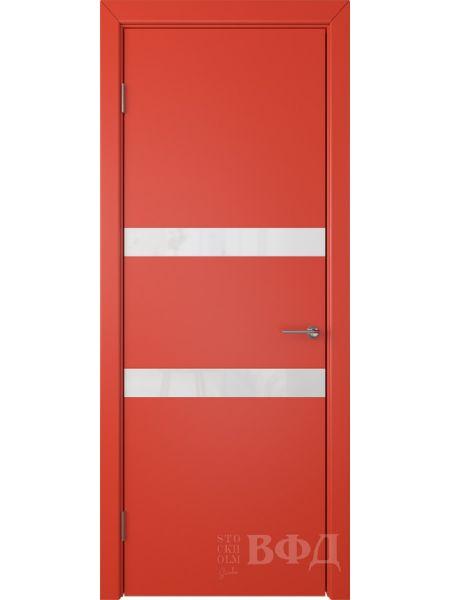 Межкомнатная дверь ВФД Ньюта 59ДО07 (Красная эмаль - Стекло белое)