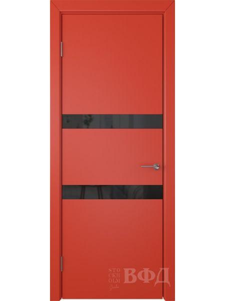 Межкомнатная дверь ВФД Ньюта 59ДО07 (Красная эмаль - Стекло черное)