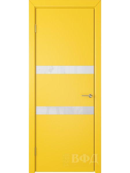 Межкомнатная дверь ВФД Ньюта 59ДО08 (Желтая эмаль - Стекло белое)