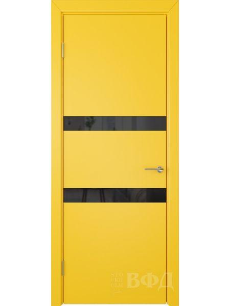 Межкомнатная дверь ВФД Ньюта 59ДО08 (Желтая эмаль - Стекло черное)