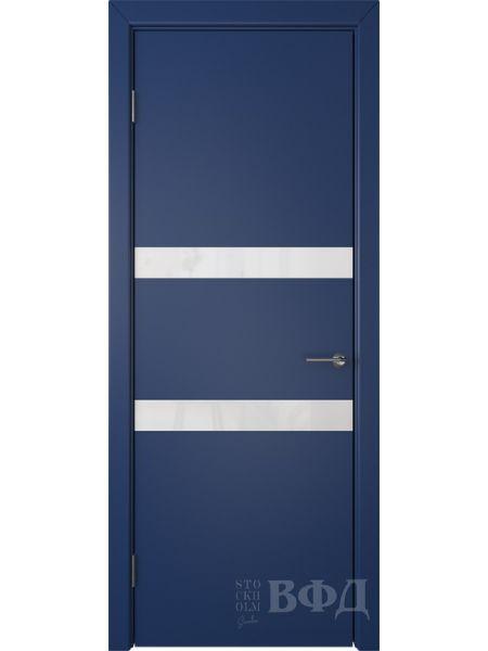 Межкомнатная дверь ВФД Ньюта 59ДО09 (Синяя эмаль - Стекло белое)
