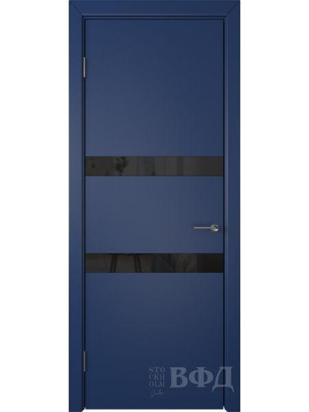 Межкомнатная дверь ВФД Ньюта 59ДО09 (Синяя эмаль - Стекло черное)