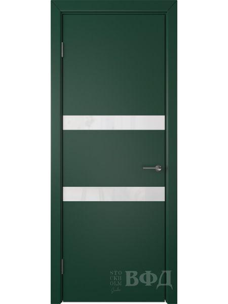 Межкомнатная дверь ВФД Ньюта 59ДО10 (Зеленая эмаль - Стекло белое)