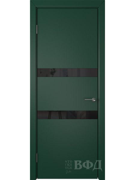 Межкомнатная дверь ВФД Ньюта 59ДО10 (Зеленая эмаль - Стекло черное)
