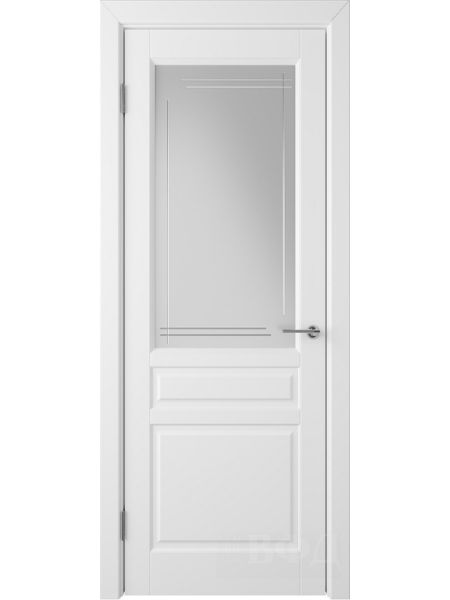 Межкомнатная дверь ВФД Стокгольм 56ДО0 (Белая эмаль - Белый сатинат с гравировкой)