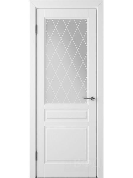Межкомнатная дверь ВФД Стокгольм 56ДО0 (Белая эмаль - Белый сатинат с печатью)