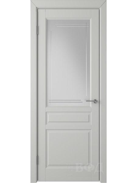 Межкомнатная дверь ВФД Стокгольм 56ДО02 (Светло-серая эмаль - Белый сатинат с гравировкой)