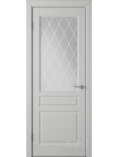 Межкомнатная дверь ВФД Стокгольм 56ДО02 (Светло-серая эмаль - Белый сатинат с печатью)