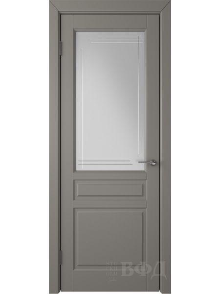 Межкомнатная дверь ВФД Стокгольм 56ДО03 (Темно-серая эмаль - Белый сатинат с гравировкой)