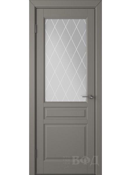 Межкомнатная дверь ВФД Стокгольм 56ДО03 (Темно-серая эмаль - Белый сатинат с печатью)
