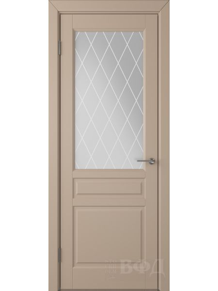 Межкомнатная дверь ВФД Стокгольм 56ДО04 (Латте эмаль - Белый сатинат с печатью)