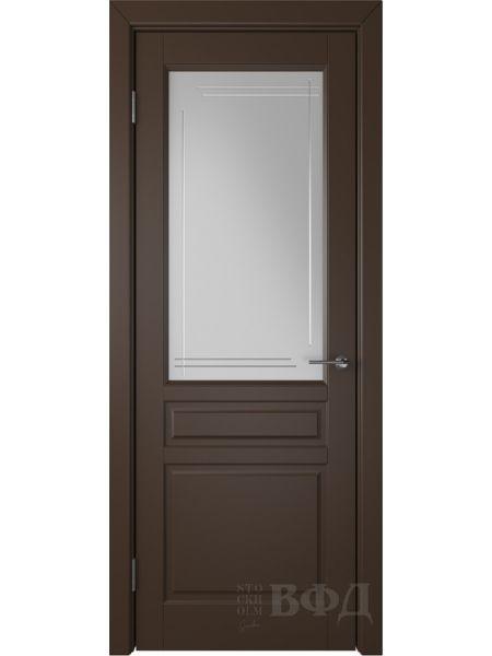Межкомнатная дверь ВФД Стокгольм 56ДО05 (Шоколадная эмаль - Белый сатинат с гравировкой)
