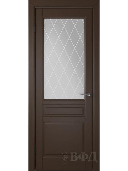 Межкомнатная дверь ВФД Стокгольм 56ДО05 (Шоколадная эмаль - Белый сатинат с печатью)