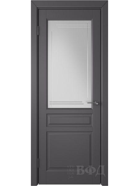Межкомнатная дверь ВФД Стокгольм 56ДО06 (Графит эмаль - Белый сатинат с гравировкой)