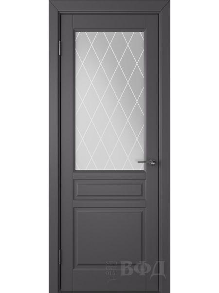 Межкомнатная дверь ВФД Стокгольм 56ДО06 (Графит эмаль - Белый сатинат с печатью)
