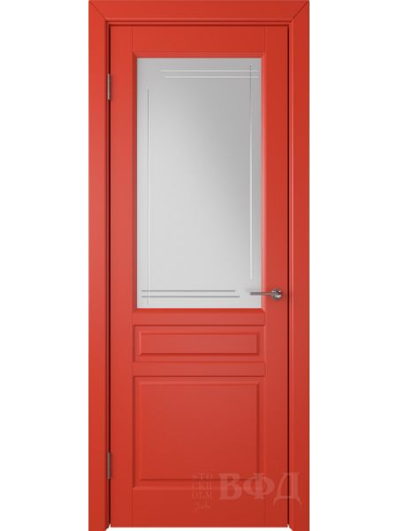 Межкомнатная дверь ВФД Стокгольм 56ДО07 (Красная эмаль - Белый сатинат с гравировкой)