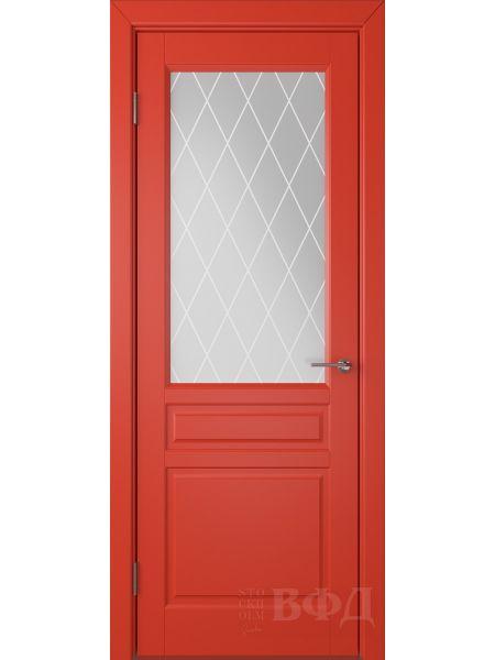 Межкомнатная дверь ВФД Стокгольм 56ДО07 (Красная эмаль - Белый сатинат с печатью)