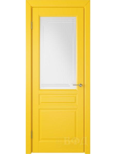 Межкомнатная дверь ВФД Стокгольм 56ДО08 (Желтая эмаль - Белый сатинат с гравировкой)