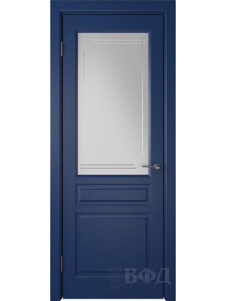 Межкомнатная дверь ВФД Стокгольм 56ДО09 (Синяя эмаль - Белый сатинат с гравировкой)