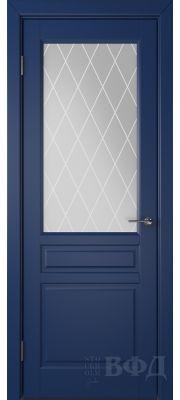 ВФД Стокгольм 56ДО09 (Синяя эмаль - Белый сатинат с печатью)