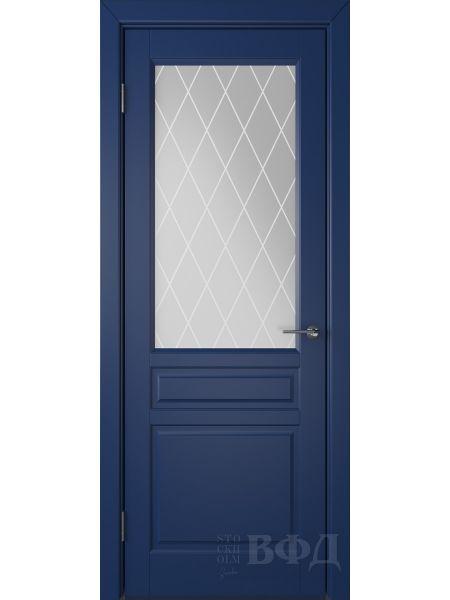 Межкомнатная дверь ВФД Стокгольм 56ДО09 (Синяя эмаль - Белый сатинат с печатью)