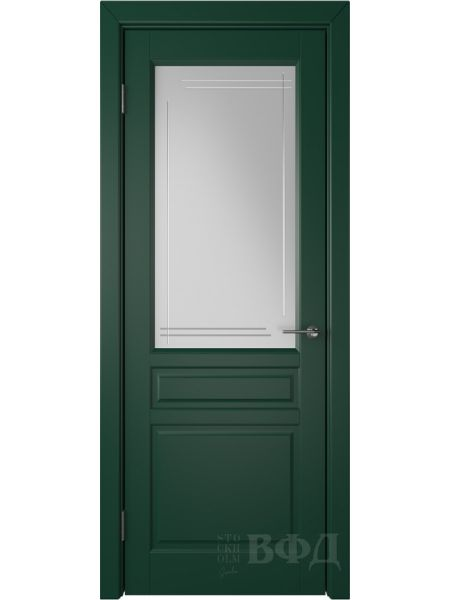Межкомнатная дверь ВФД Стокгольм 56ДО10 (Зеленая эмаль - Белый сатинат с гравировкой)