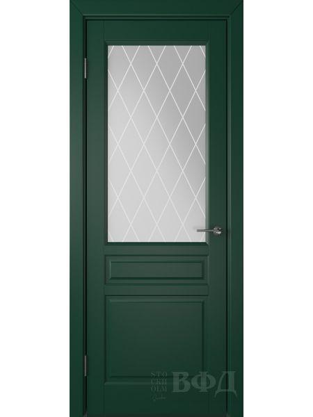 Межкомнатная дверь ВФД Стокгольм 56ДО10 (Зеленая эмаль - Белый сатинат с печатью)