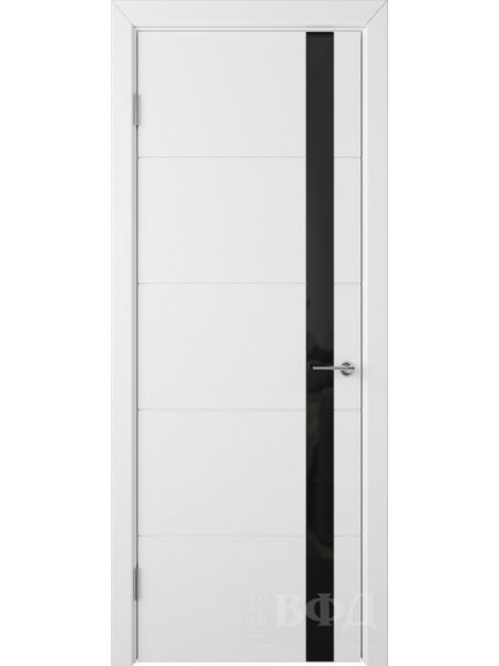 Межкомнатная дверь ВФД Тривиа 50ДО0 (Белая эмаль - Стекло черное)