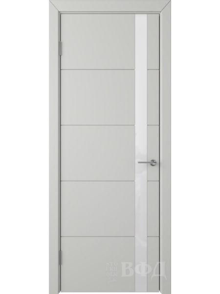 Межкомнатная дверь ВФД Тривиа 50ДО02 (Светло-серая эмаль - Стекло белое)