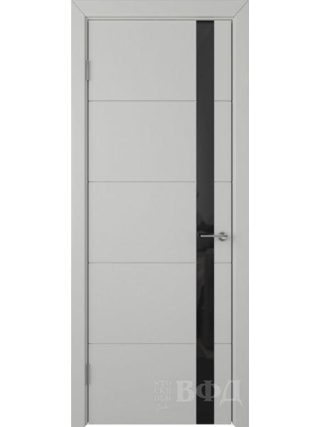 Межкомнатная дверь ВФД Тривиа 50ДО02 (Светло-серая эмаль - Стекло черное)