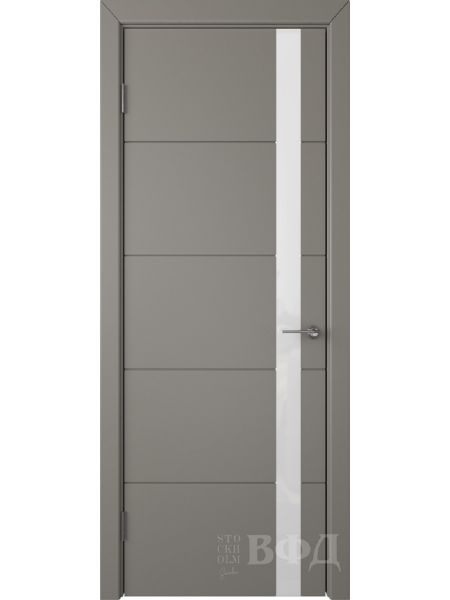 Межкомнатная дверь ВФД Тривиа 50ДО03 (Темно-серая эмаль - Стекло белое)