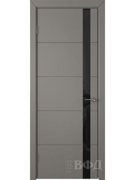 Межкомнатная дверь ВФД Тривиа 50ДО03 (Темно-серая эмаль - Стекло черное)