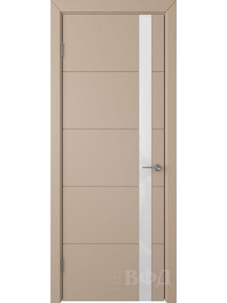Межкомнатная дверь ВФД Тривиа 50ДО04 (Латте эмаль - Стекло белое)