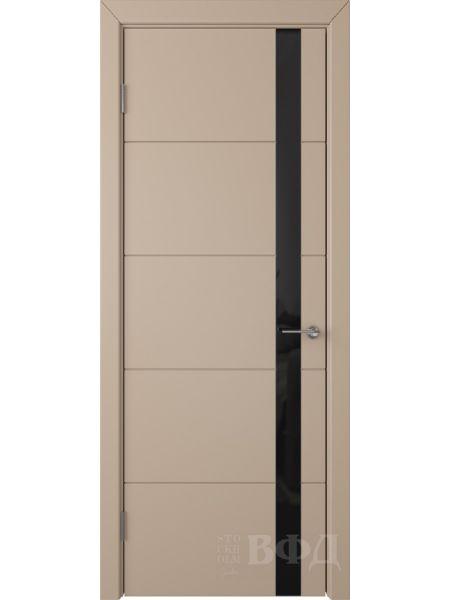 Межкомнатная дверь ВФД Тривиа 50ДО04 (Латте эмаль - Стекло черное)