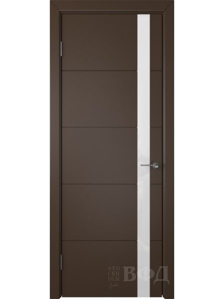 Межкомнатная дверь ВФД Тривиа 50ДО05 (Шоколадная эмаль - Стекло белое)