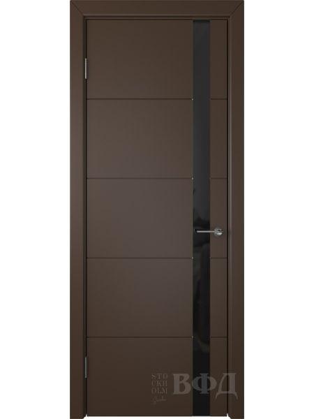 Межкомнатная дверь ВФД Тривиа 50ДО05 (Шоколадная эмаль - Стекло черное)