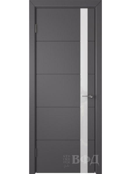 Межкомнатная дверь ВФД Тривиа 50ДО06 (Графит эмаль - Стекло белое)