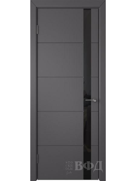 Межкомнатная дверь ВФД Тривиа 50ДО06 (Графит эмаль - Стекло черное)
