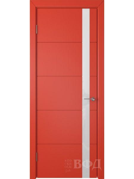 Межкомнатная дверь ВФД Тривиа 50ДО07 (Красная эмаль - Стекло белое)